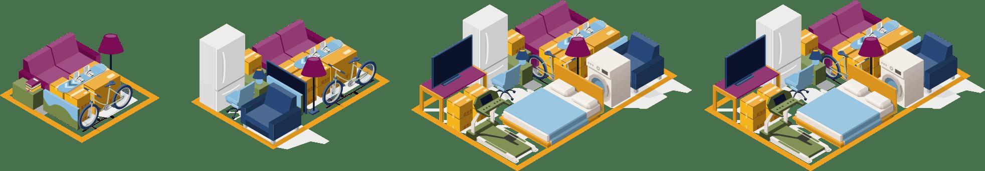 Small, medium, large and extra large storage units