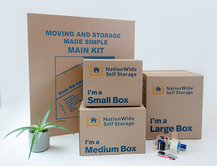 NationWide Self Storage main packing kit includes boxes, tape, tape gun, box knife and marker