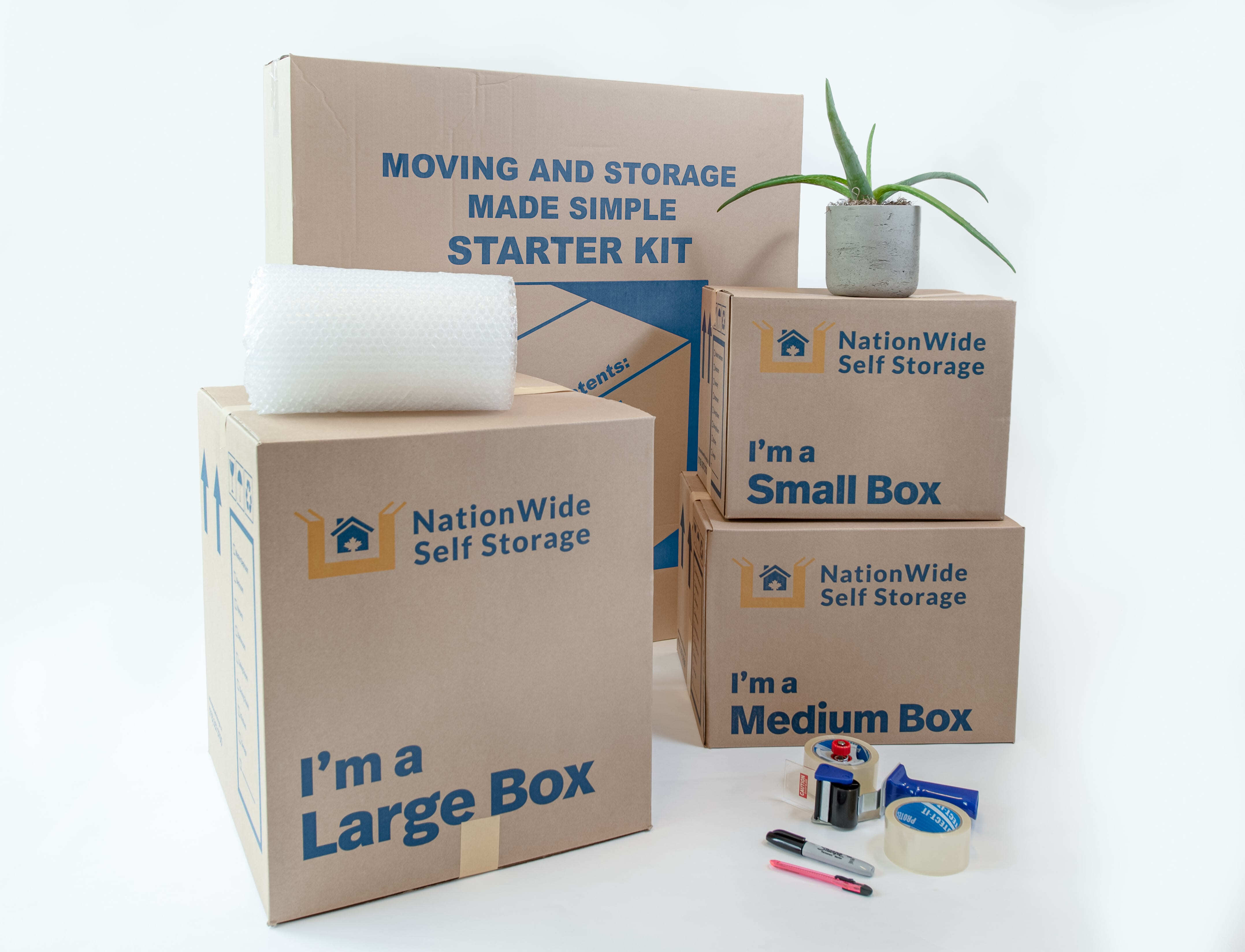 NationWide Self Storage starter packing kit includes boxes, bubble wrap, roll tape, box knife and marker